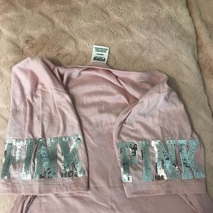 PINK Victoria's Secret Tops - PINK light pink tee with sequin detail size L